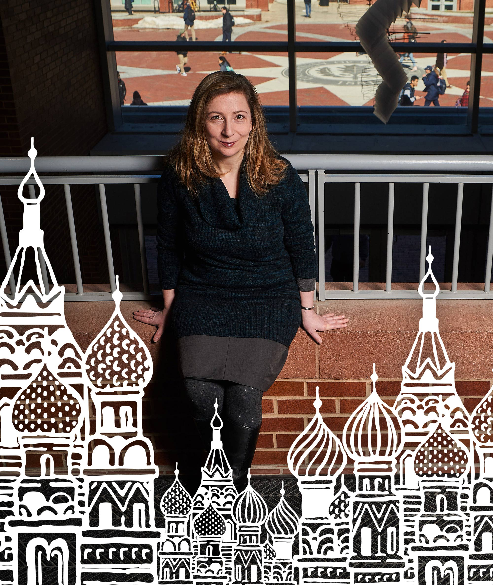 Associate professor and acclaimed novelist Ellen Litman with Illustration of Russian Architecture in a Papercut style