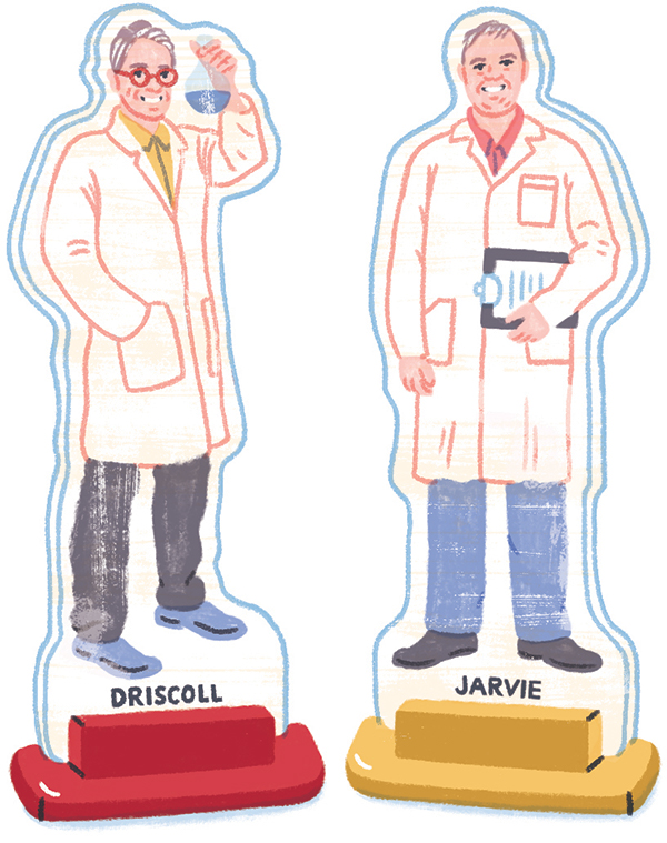 Game board pieces of biochemist, Mark Driscoll, and business partner, Thomas Jarvie. Illustrations by Katie Carey
