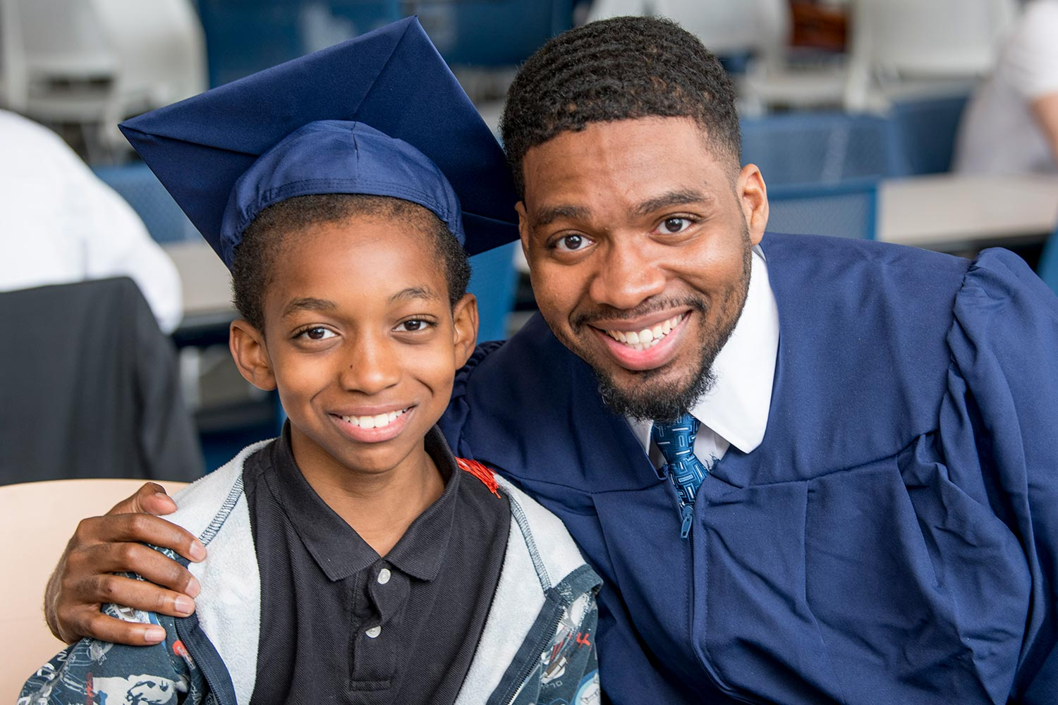John Scipion '17 Computer science and engineering from Norwalk, CT with his little brother, Emmanuel after the School of Engineering commencement (graduation) ceremony on May 6, 2017.