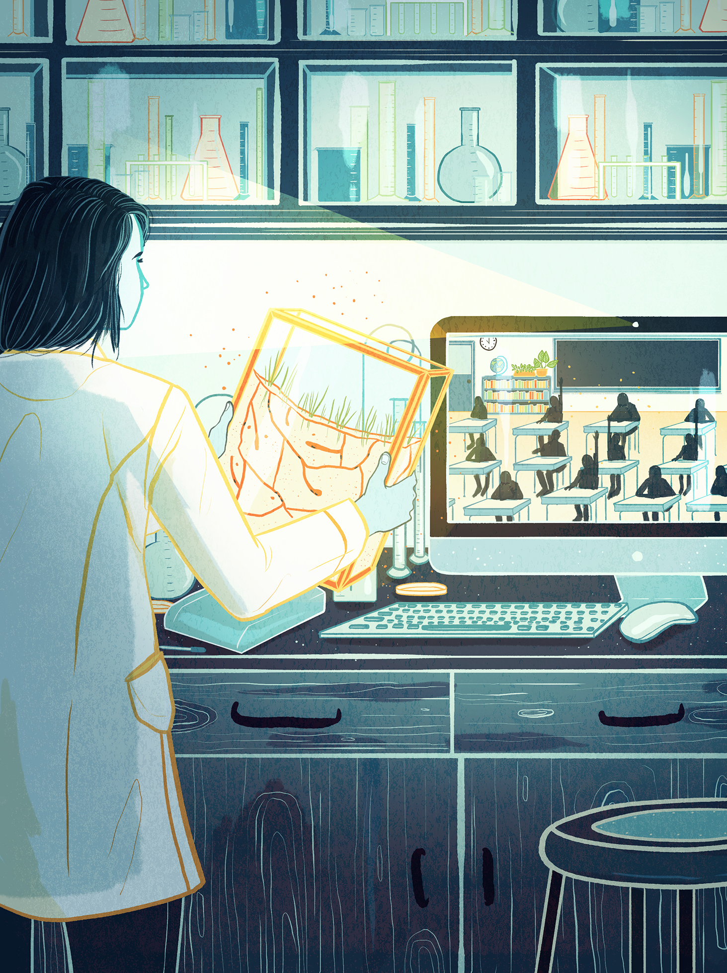 illustration of a scientist viewing a computer via skype