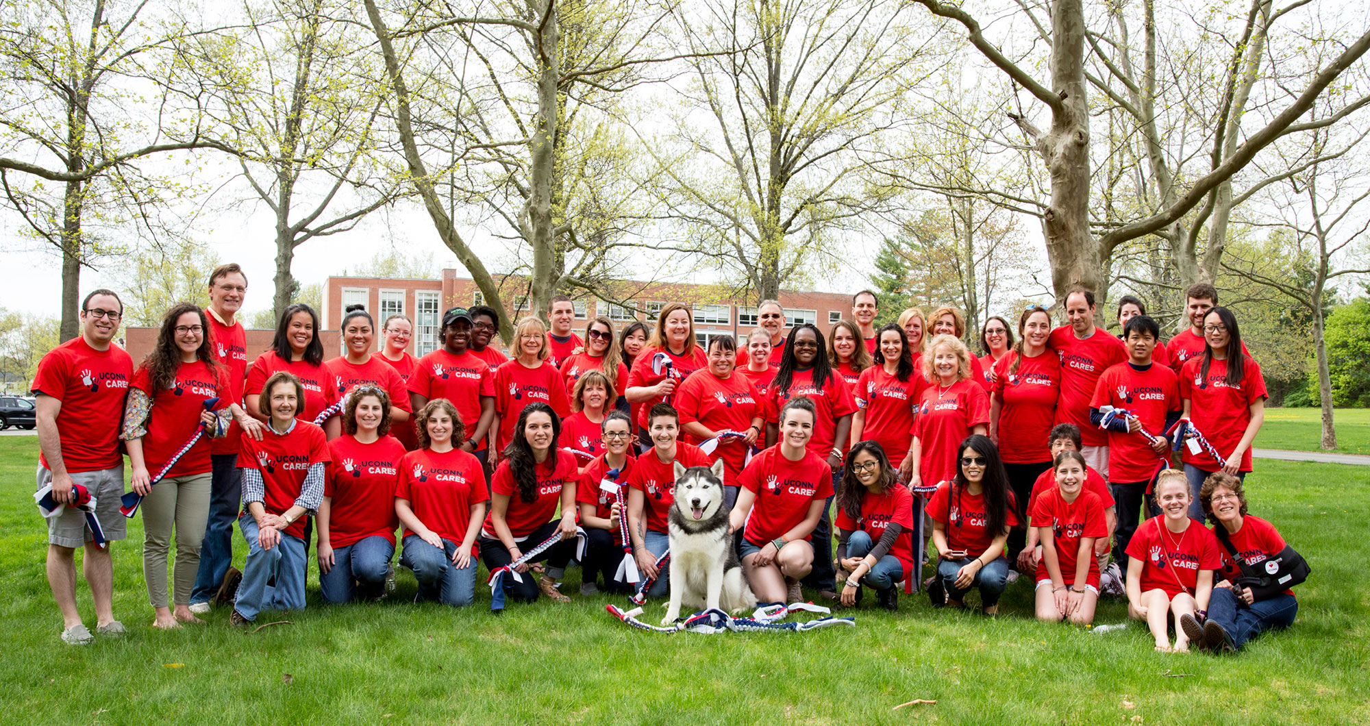 Staff from UConn Cares, Hartford, pose with Jonathan XIV