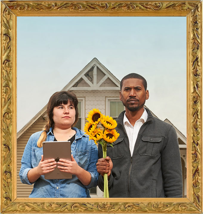 "Agriculture students Marisa Kaplita and Macario Rodrigues pose ""American Gothic"" style at UConn's Spring Valley Farm."