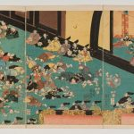 Painting of Japanese men on floor in front of Emperor