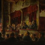 Oil painting of men in theatre at burlesque