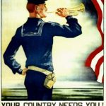 Poster of American soldier with trumpet and flag