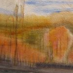 Watercolor painting of autumn landscape