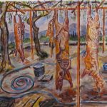 Watercolor painting of slaughtered animals hanging by legs