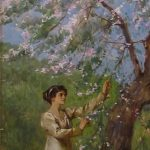 Painting of woman at cherry blossom tree