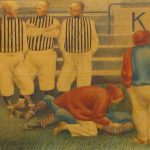Painting of man on ground and three referees