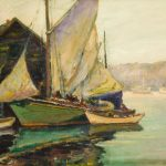 Oil painting of boat at a dock