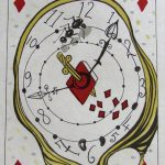 Print by Dali of distorted clock on playing card