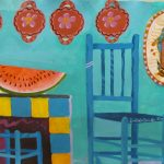 Acrylic painting of blue kitchen with watermelon
