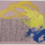 Image of blue and yellow paint over pink music sheet and poem