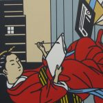 Image of woman in red looking down with pen at scroll