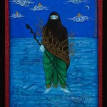 Painting on wooden panel with gouache and gold leaf of woman with blue background