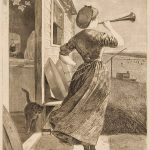 Engraving of woman with horn outside of home with cat
