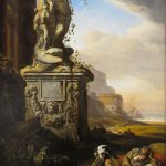 Painting of youth sleeping next to statue in Italian landscape