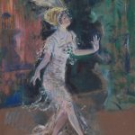 Painted dancer created with broad strokes of colors and red/brown hues