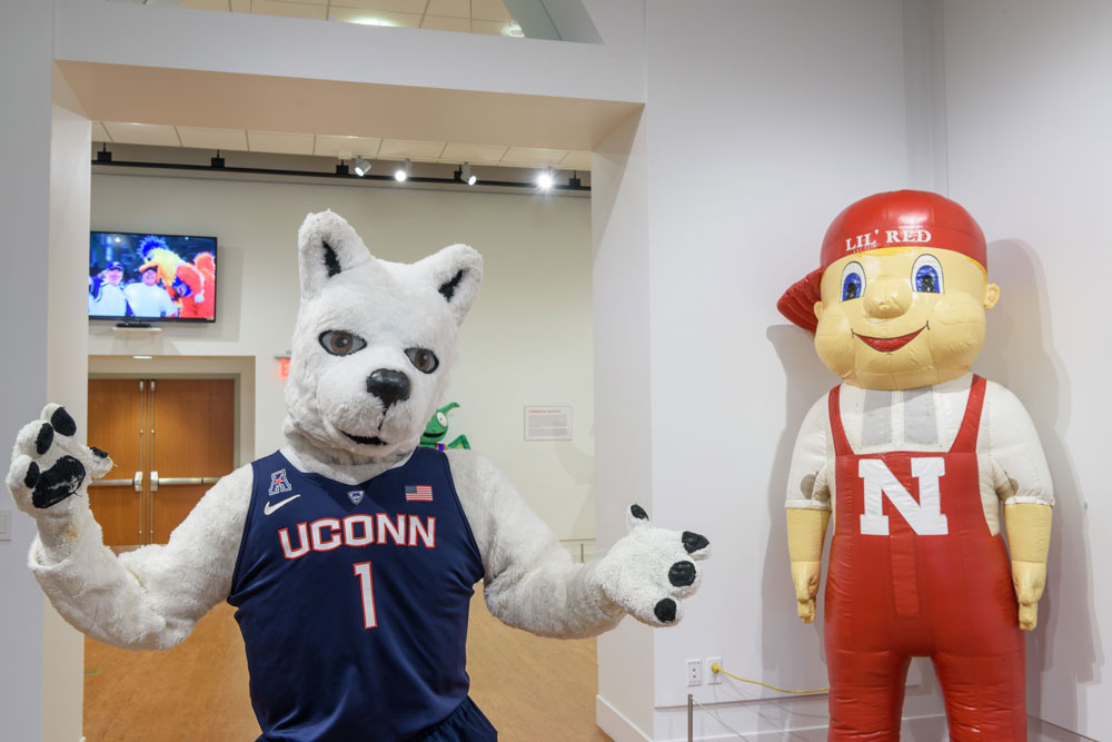 "Jonathan the Husky, left and Lil' Red from the University of Nebraska-Lincoln on display at ""Mascots! Mask Performance in the 21st Century"" at the Ballard Institute and Museum of Puppetry"