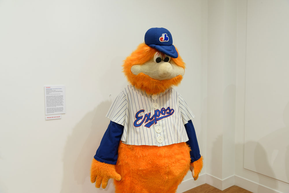Youppi! the mascot of the Montreal Expos and Montreal Canadiens on display at