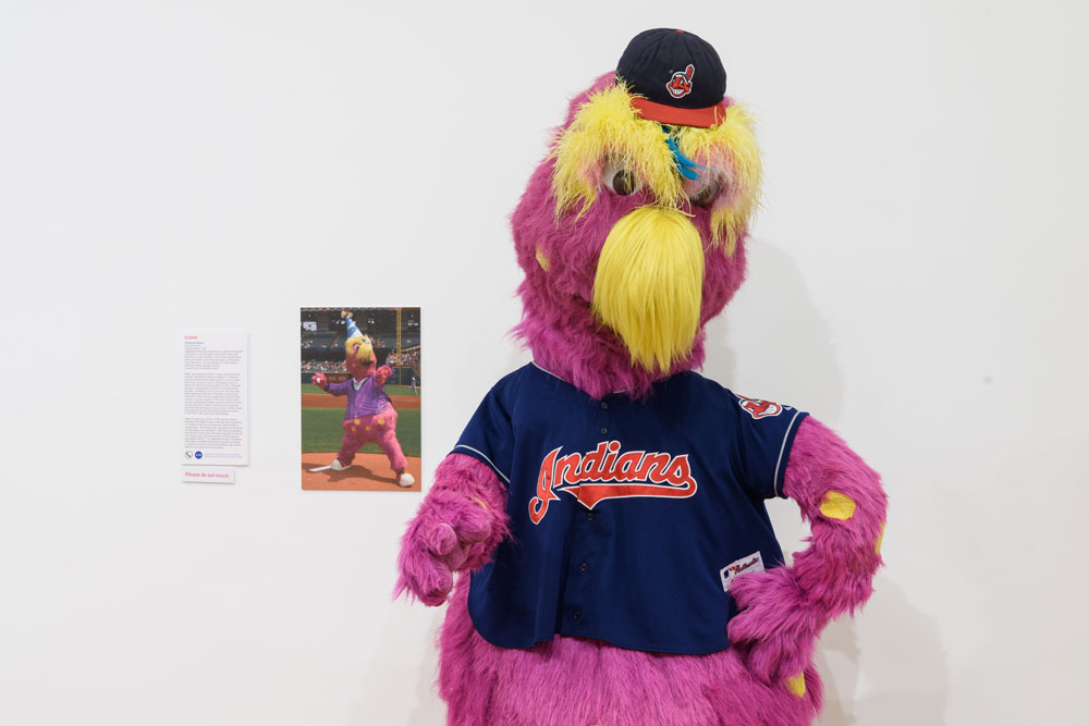 Slider, the mascot of the Cleveland Indians on display at