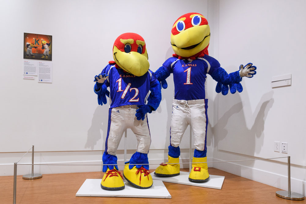 "Baby Jay, left, and Big Jay, mascots of The University of Kansas on display at ""Mascots! Mask Performance in the 21st Century"" at the Ballard Institute and Museum of Puppetry"