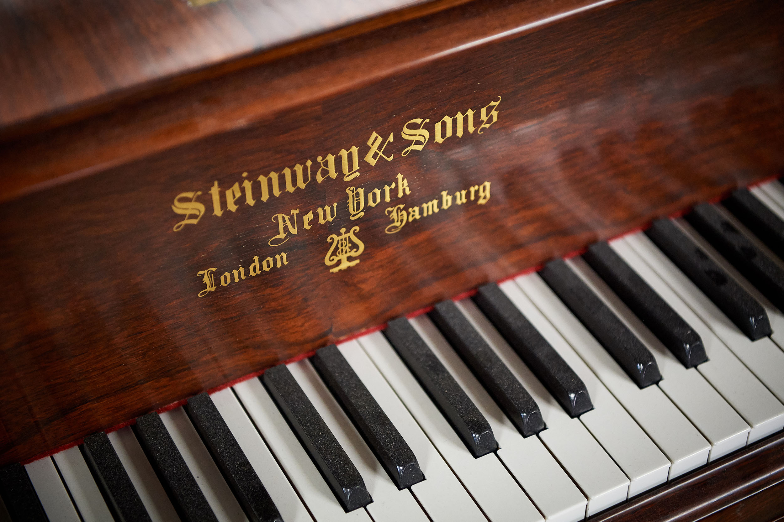 An 1881 Steinway & Sons piano under refreshment at factory. Same age as UConn!