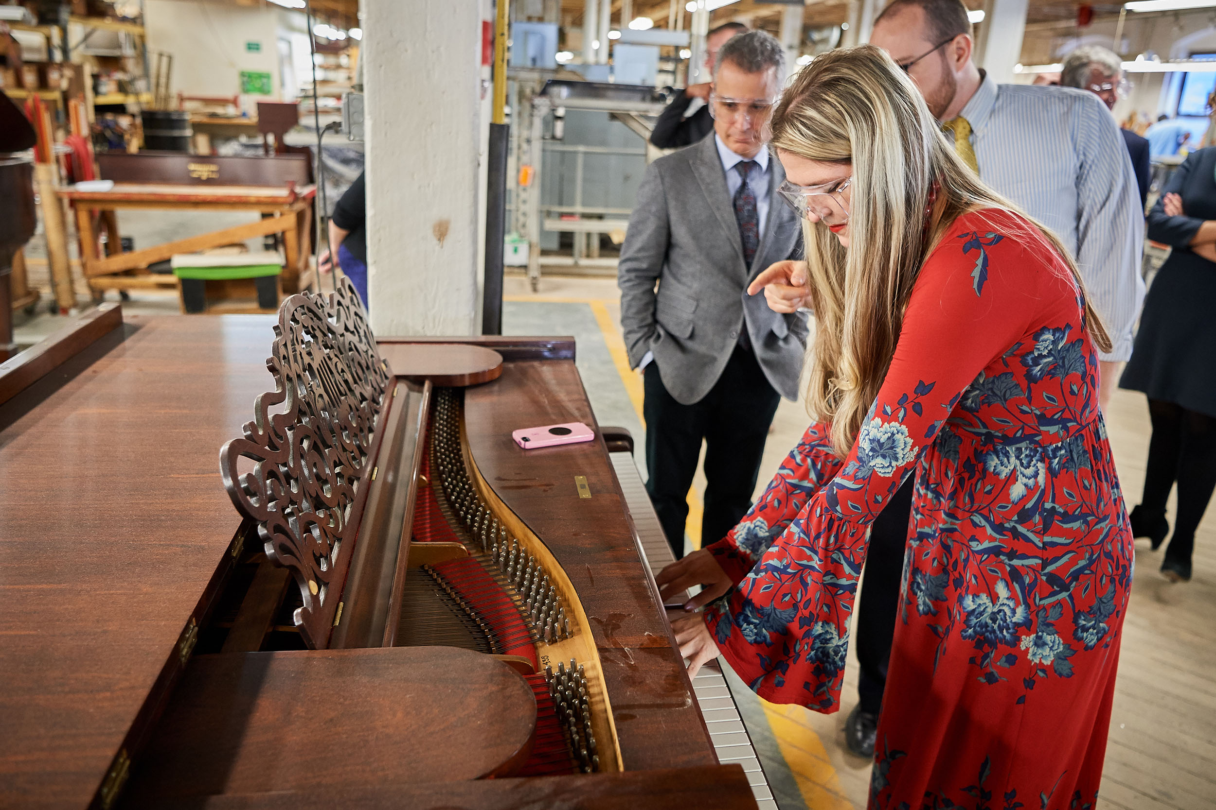 Angelina Gadeliya, assistant professor in Residence of Piano and coordinator of keyboard studies, touches the keyboard of a 1881 Steinway & Sons piano