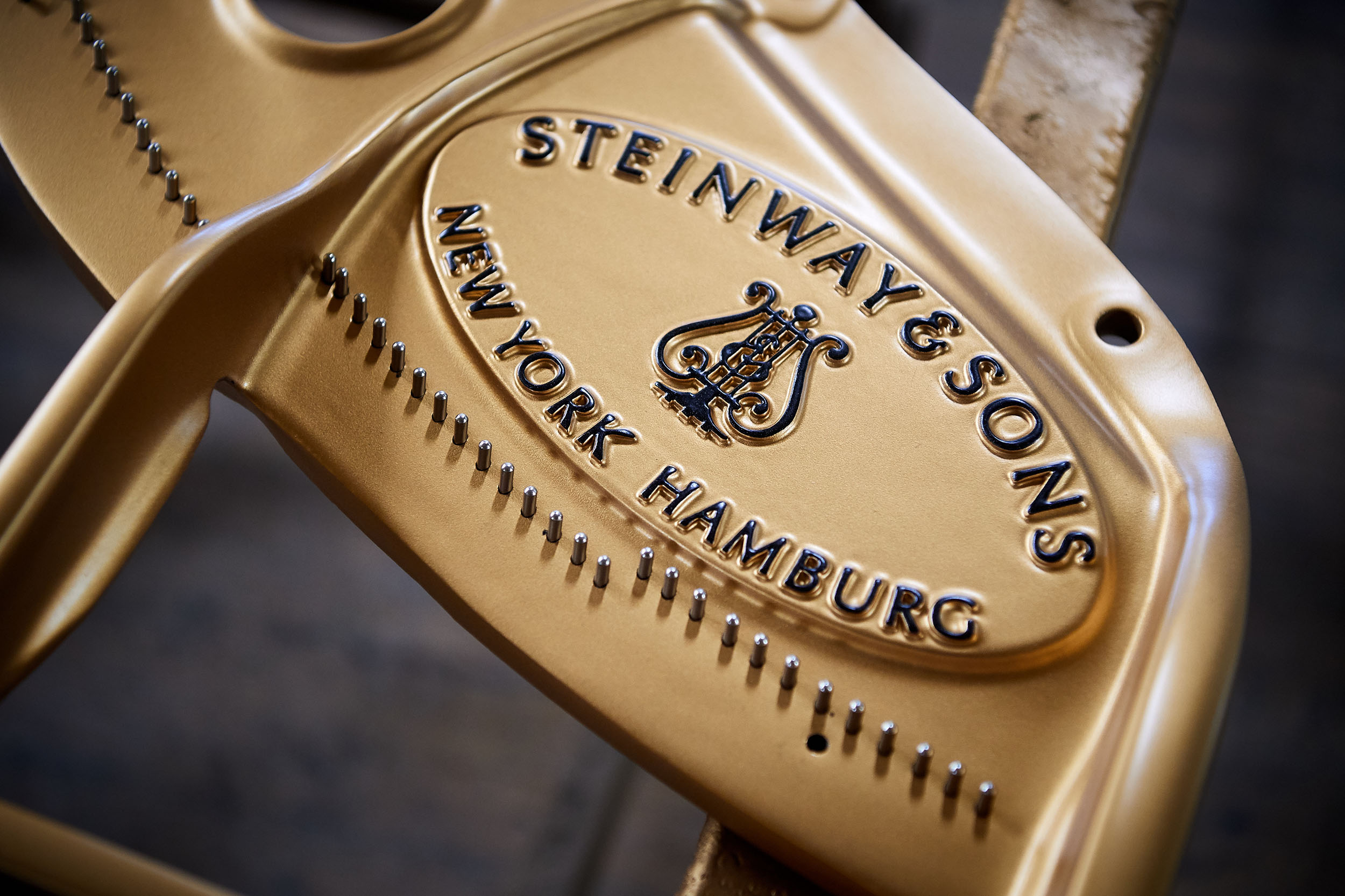 Detail of a cast iron frame at the Steinway & Sons factory