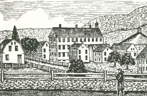 Black and white print image of a farming town and a man with a napsack