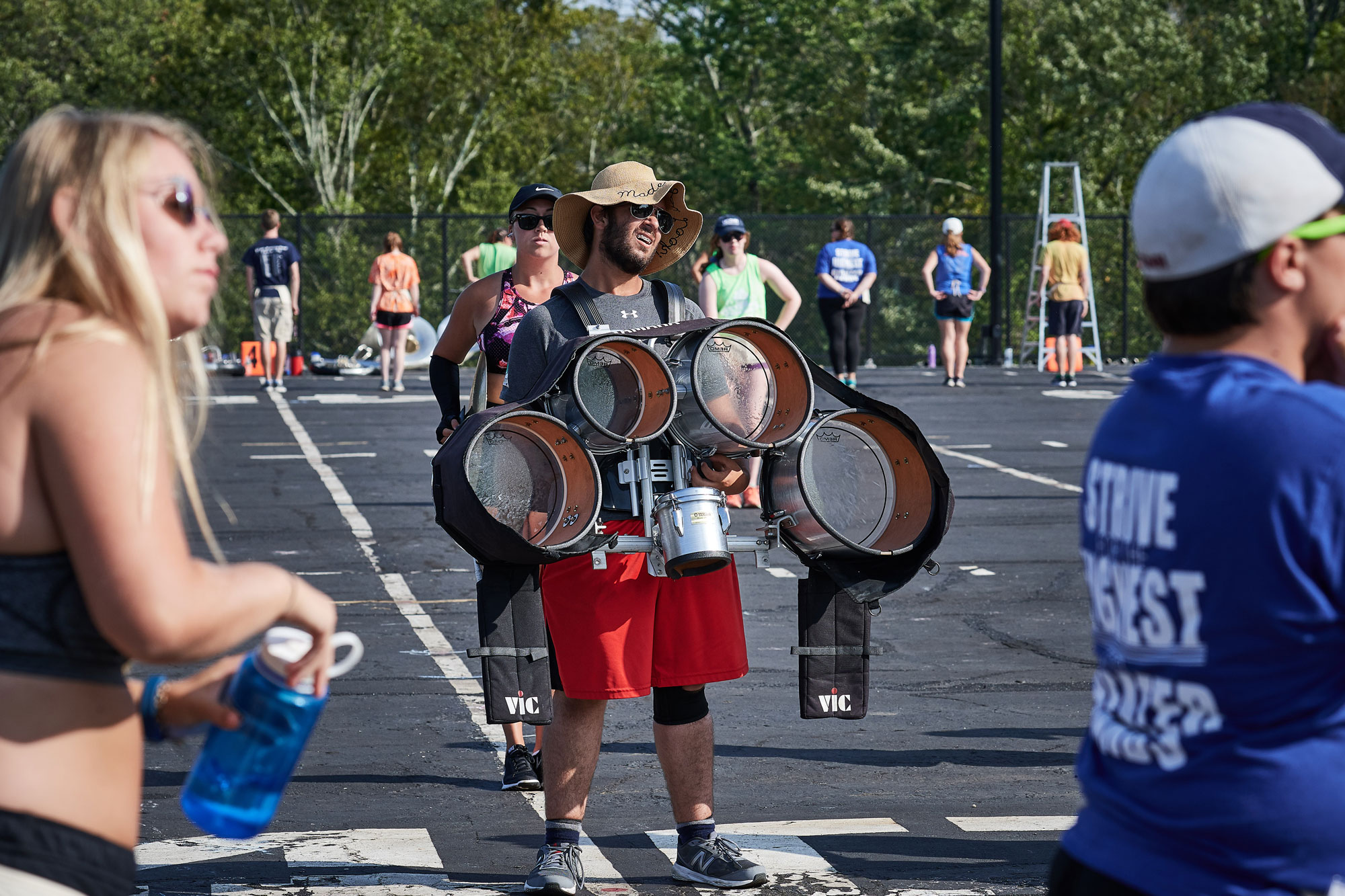 The UConn Marching Band practices on their field near W lot
