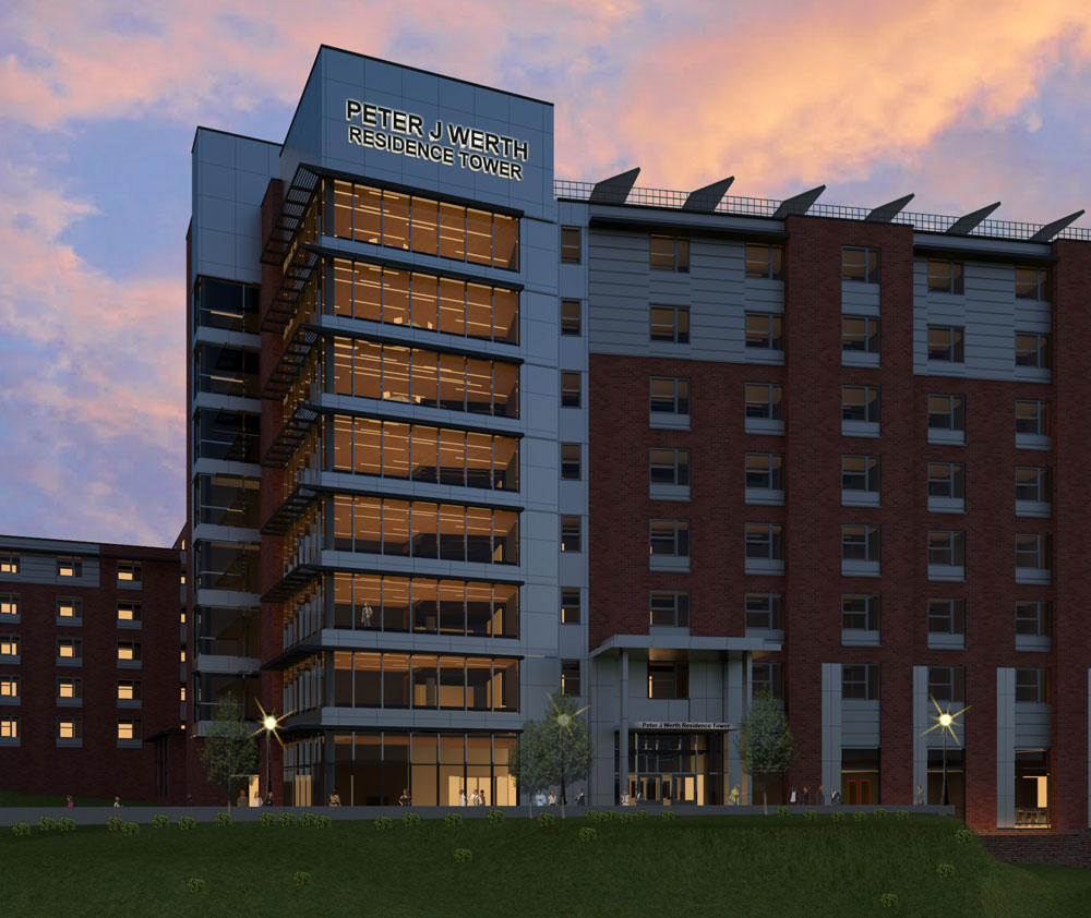 Rendering of the Peter J. Werth Residence Hall