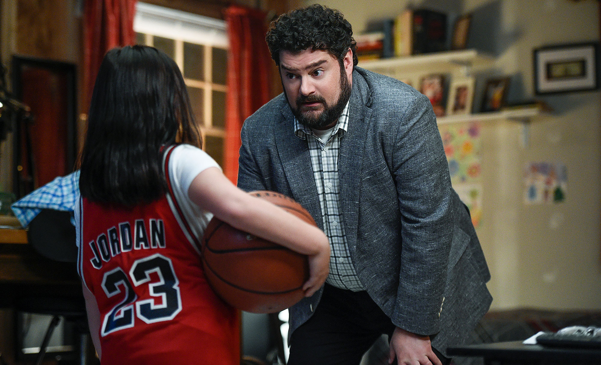 "Bobby Moynihan on set from CBS sitcom ""Me, Myself, & I"""