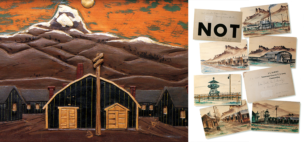 Painting of Japanese internment camps and images of postcards depicting internment camps from J.L. DeWitt