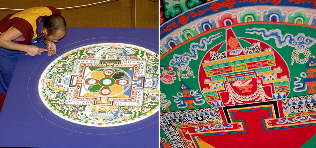 Monks from Namyal Monastery in Ithaca, N.Y., created Mandala of Compassion as part of the Museum's Mystical Arts of Tibet exhibition. It took an entire week to complete the sacred sand painting, which was then dismantled and the sand poured into Mirror Lake.