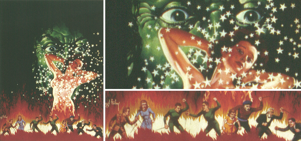 Image of large green face overlooking a woman covered with stars standing among flames and people rioting