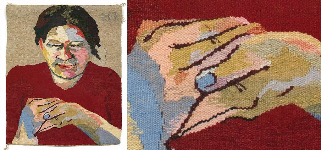 Image of a crocheted print of a woman in a red shirt