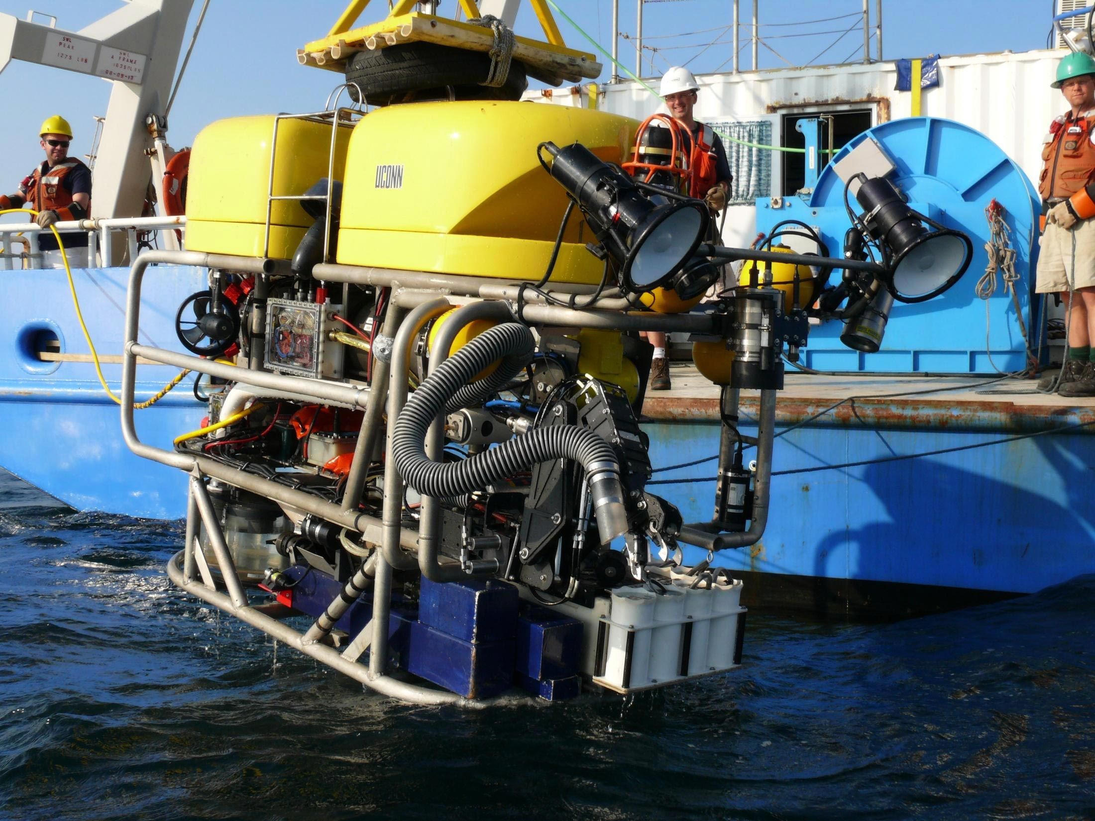 The Kraken 2 ROV leaves the ROV Connecticut research vessel and readies for a dive. (Photo courtesy of Peter Auster)