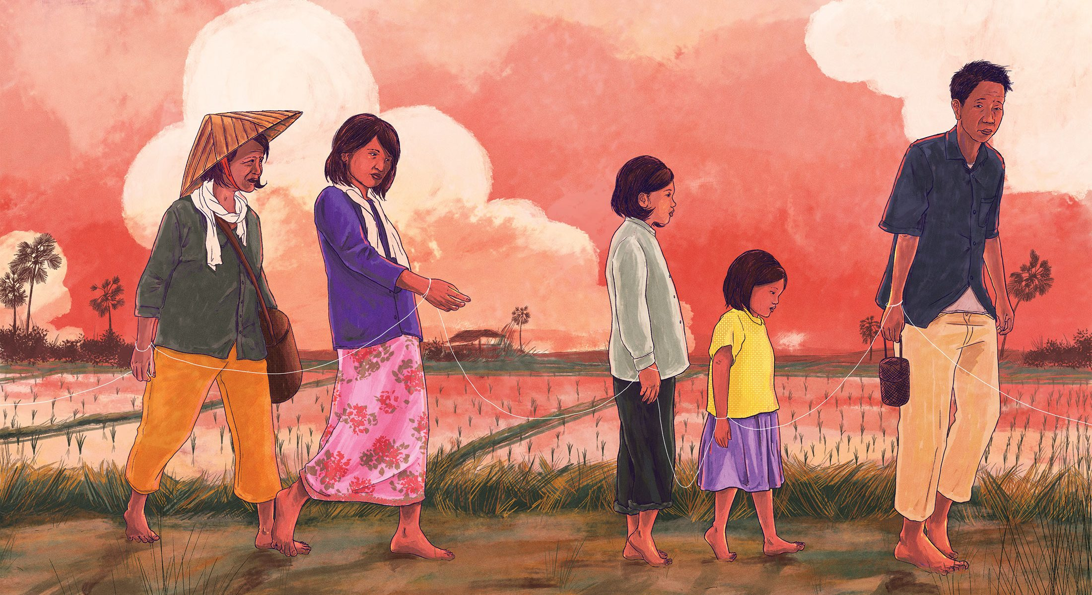 Illustration of a family at dusk forced to make an arduous walk tied together with a white string connecting the family.