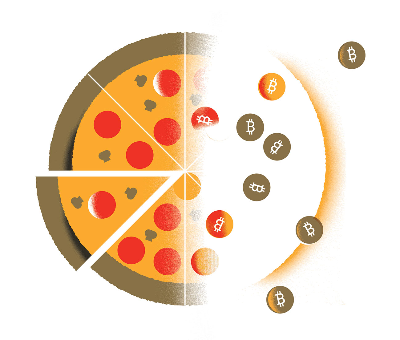 illustration of pizza half where pepperonis turn into bitcoins