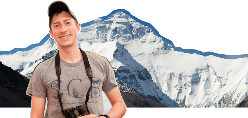 Photo illustration of Morgan Tingley in front of mountain