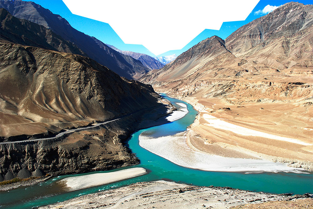 Mountain ranges surrounding the Indus River