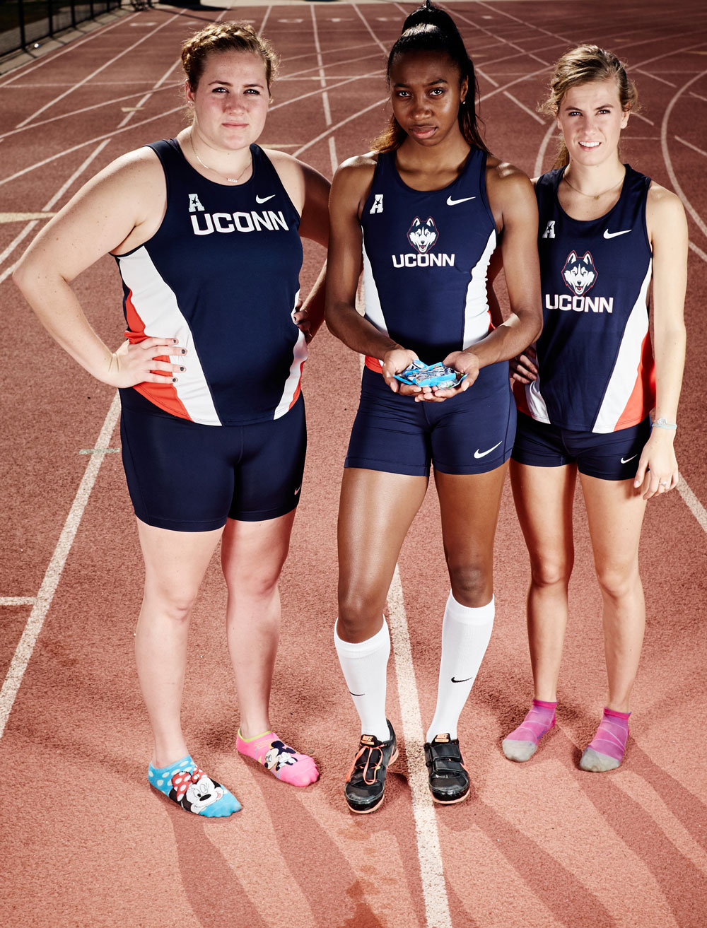 UConn Track athletes: Megan Chapman, Odrine Belot and Alana Pearl