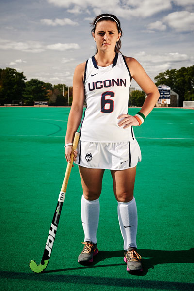 UConn Field Hockey player Roisin Upton on the field hockey field