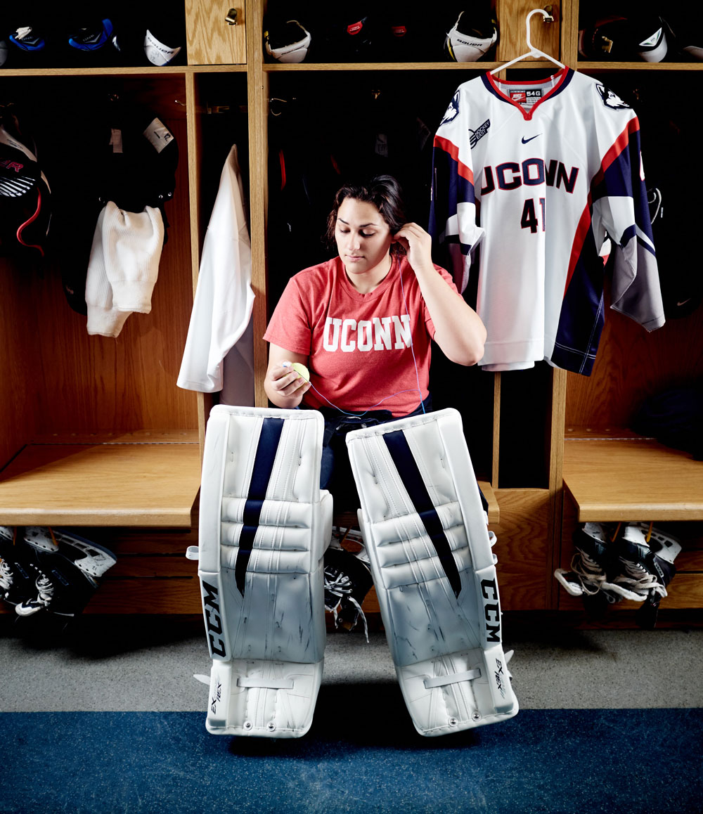 UConn Women's ice hockey goalie, Anne Belanger