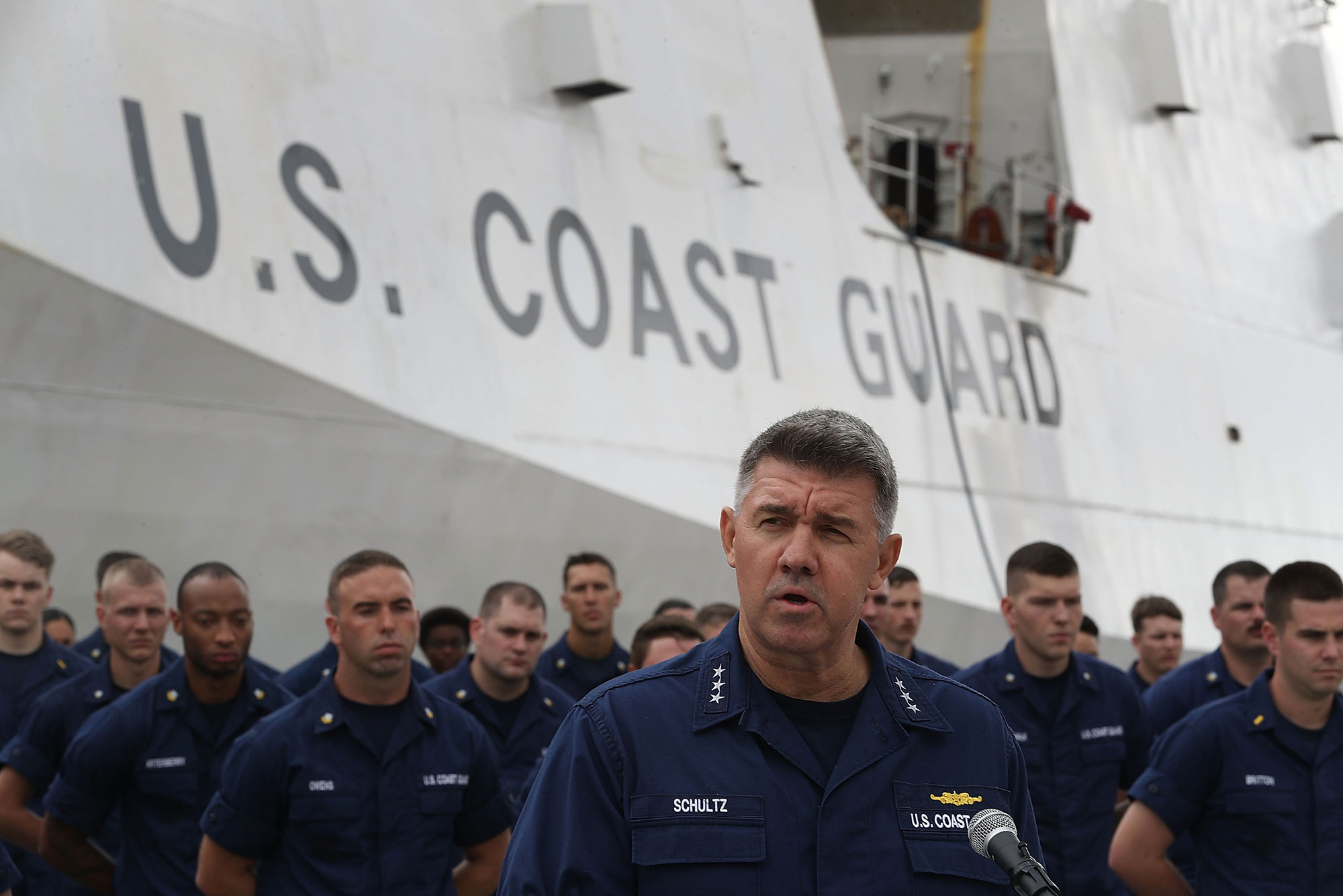 FORT LAUDERDALE, FL - DECEMBER 15: Vice Admiral Karl Schultz, Commander, Coast Guard. Atlantic Area, speaks to the media about the U.S. Coast Guard ship Hamilton and the approximately 26.5 tons of cocaine that was being prepared to be offloaded at Port Everglades on December 15, 2016 in Fort Lauderdale, Florida. The drugs worth an estimated $715 million were from 27 separate, suspected drug smuggling vessel interdictions and five bale recovery operations by the U.S. Coast Guard, Royal Canadian Naval crews and its interagency partners. (Photo by Joe Raedle/Getty Images)
