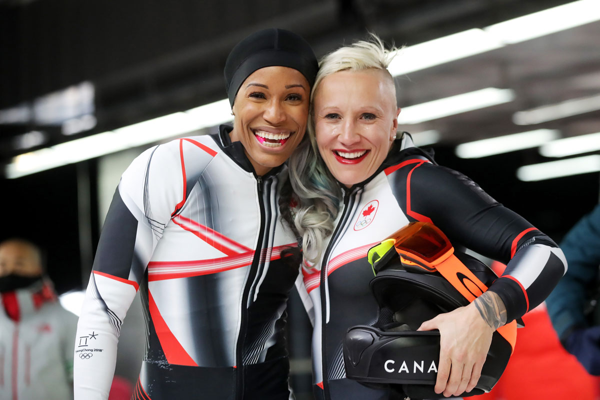 Phylicia George and Kaillie Humphries at the 2018 Winter Olympic games