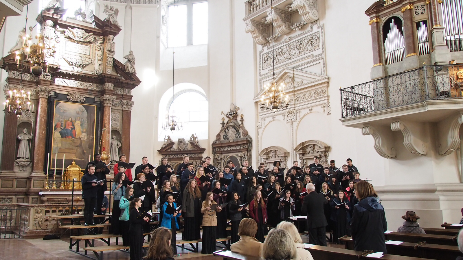 The UConn Concert Choir performs for Mass in the Salzburg Cathedral