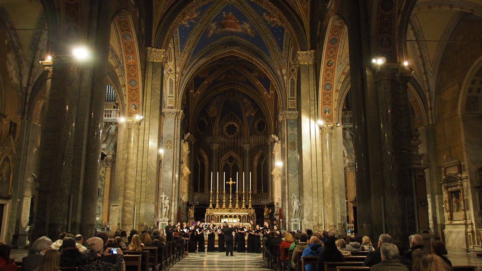 The UConn Collegium Musicum performing in Santa Maria Sopra Minerva in Rome
