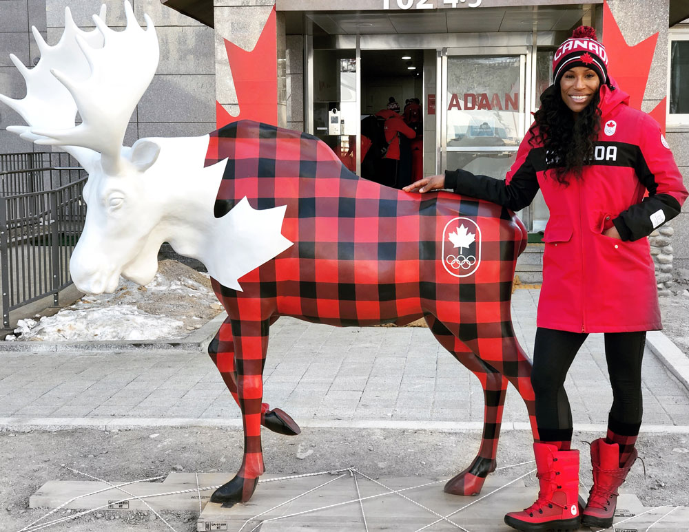 Phylicia George representing Canada at the 2018 Winter Olympic games